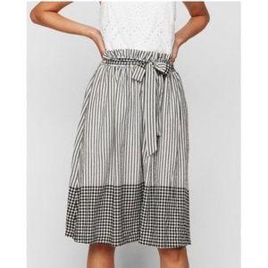 Express Mixed Pattern Paper Bag Waist Midi Skirt